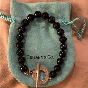 Authentic Tiffany black onyx bracelet